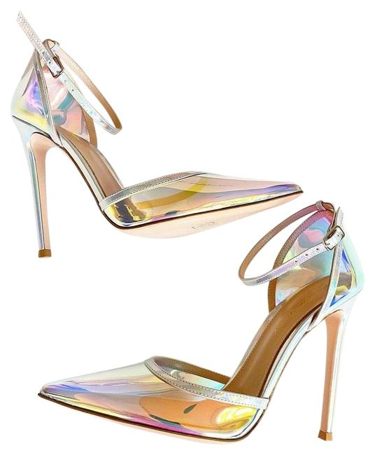 Item - Silver Hologram Mirrored Pvc Pointed Toe Ankle Strap Pumps Size EU 37.5 (Approx. US 7.5) Regular (M, B)