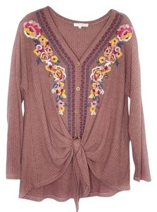 Andree Button Down Embroidered Floral Embroidery Tie Front Waffle Knit Top Pink Tan