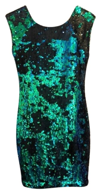 Item - Green/Blue Sequin Bodycon Short Cocktail Dress Size 4 (S)