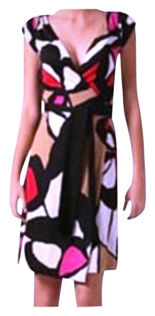 Item - Black Red Pink Tan Abri Silk Mid-length Cocktail Dress Size 4 (S)