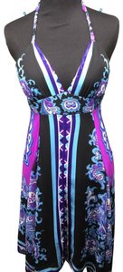Rubber Ducky Productions, Inc. short dress Purple/Blue Floral Halter Sundress Paisley Chiffon on Tradesy