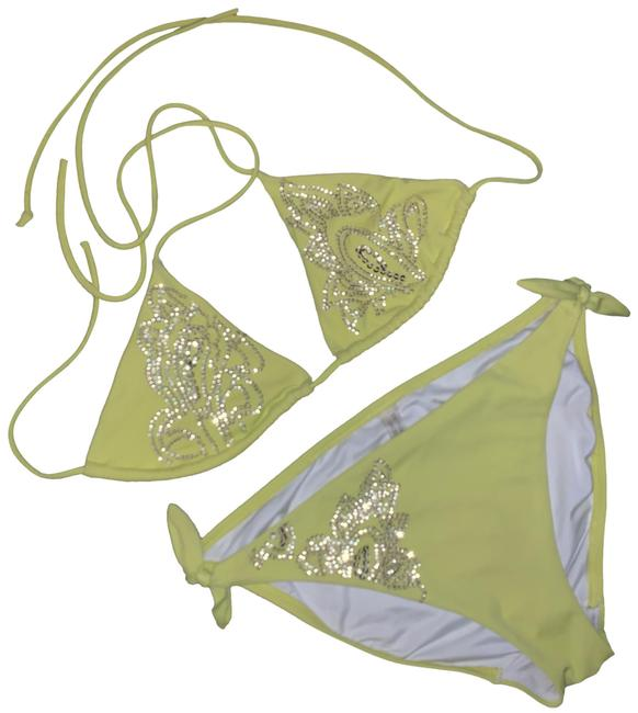 Item - Lime Triangle Sequins Bikini Set Size 8 (M)
