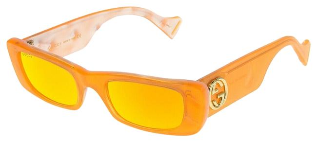 Gucci Neon Orange 0516 Fluorescent Pink Mirrored Pearl Geometric Gg0516s Sunglasses Gucci Neon Orange 0516 Fluorescent Pink Mirrored Pearl Geometric Gg0516s Sunglasses Image 1