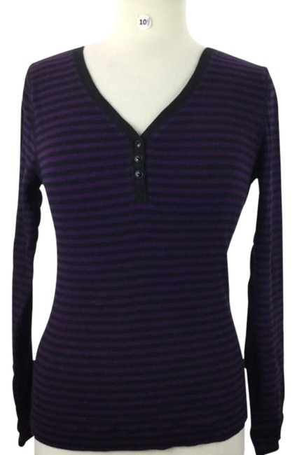 Item - Purple & Black Lrl Jeans Stripes Long Sleeve M Tee Shirt Size 8 (M)