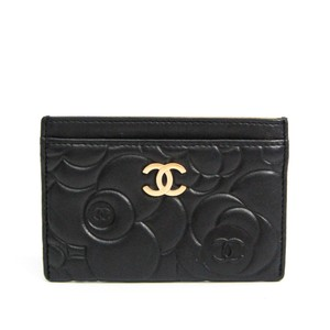 Chanel Chanel Camellia Leather Card Case Black