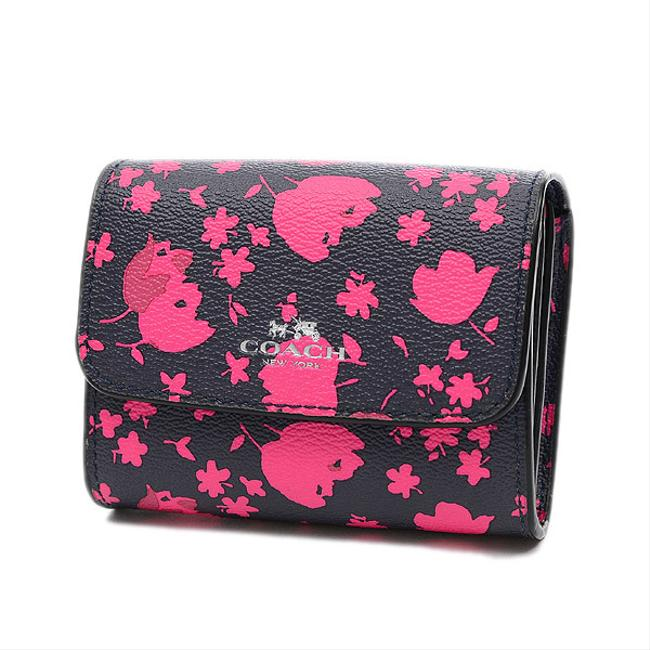 Item - Navy / Red Color Prairie Compact Calico Floral Print Leather F56725 Wallet