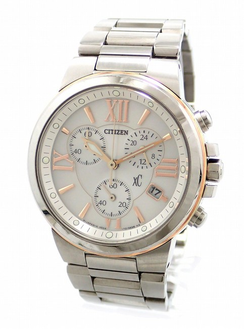 Item - Solar Xc Cross Sea Eco Drive Chronograph Date White Dial Pink Gold Plated Ss Ladies Wrist Watch