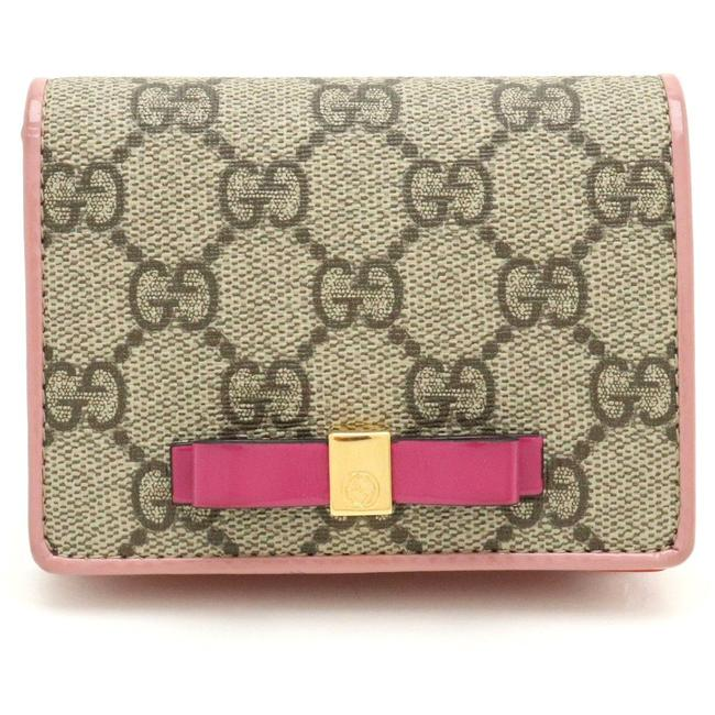 Gucci Beige / Khaki / Orange / Pink Gg Supreme Leather Card Case Business Pass Id 406924 Wallet Gucci Beige / Khaki / Orange / Pink Gg Supreme Leather Card Case Business Pass Id 406924 Wallet Image 1