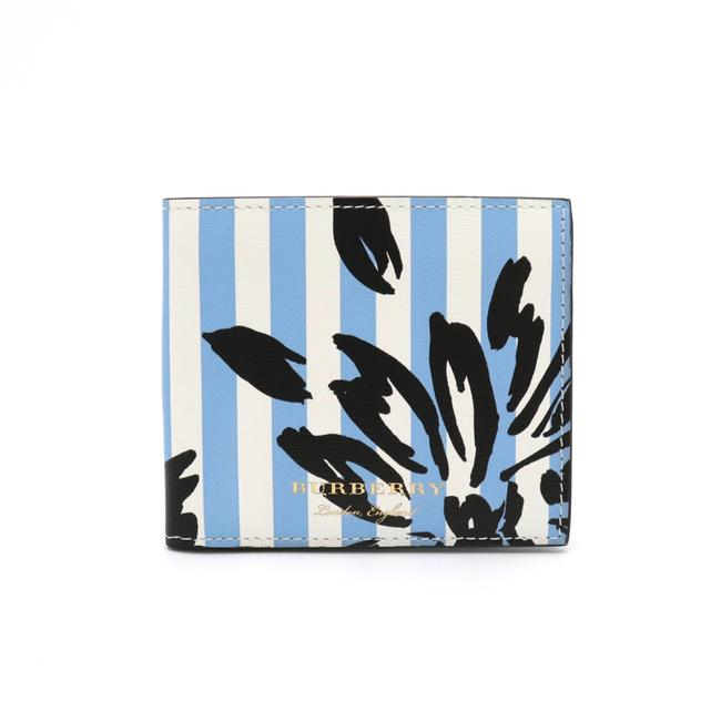 Item - Black / Light Blue / White Bi-fold Leather Stripe Wallet