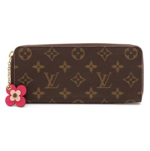 Louis Vuitton LOUIS VUITTON Louis Vuitton Monogram Portefoille Clemence Flower Round Zipper Long Wallet with Charm M64201