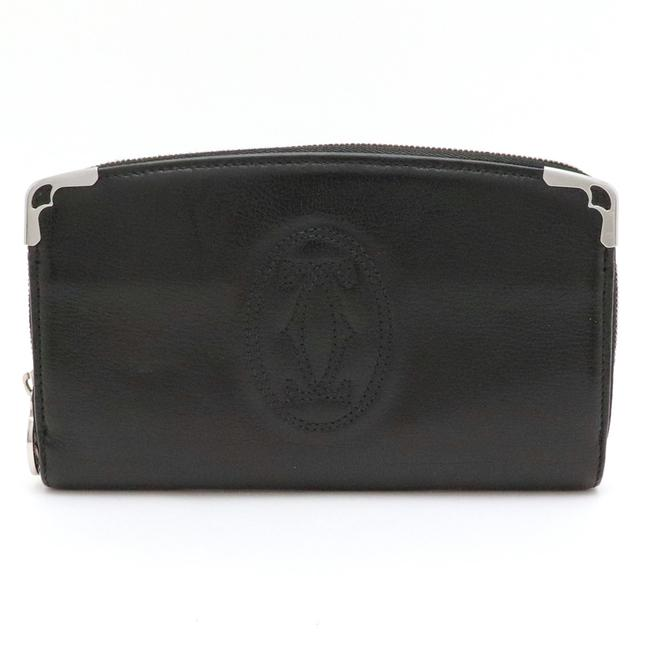 Item - Black Long Marcello Round Zipper Leather Silver Hardware L3000915 Wallet