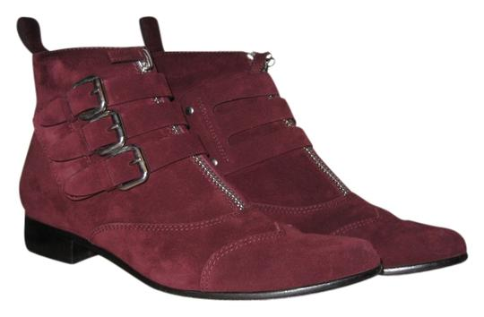 Tabitha Simmons Maroon Zipper Suede Burgundy Boots