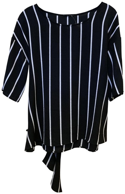 West Kei Black & White Strip Tie Blouse Size 8 (M) West Kei Black & White Strip Tie Blouse Size 8 (M) Image 1