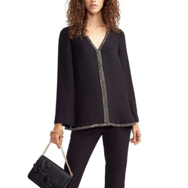 Item - Black Silver Mallet Embellished Crystal V Neck Wide Cuff Silk Pullover Blouse Tunic Size 4 (S)