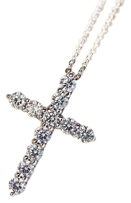 Item - Silver Plated 925 Sterling Cross Pendant Diamond Cz Engagement Wedding Pendants For Women Bridal Party Necklace