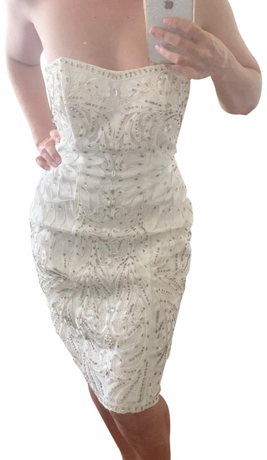 Item - White Strapless Embellished Mini Short Formal Dress Size 4 (S)