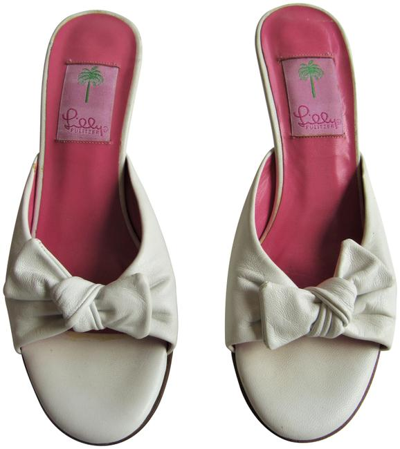Item - White Bow Vamp Kitten Heels Sandals Size US 7.5 Regular (M, B)
