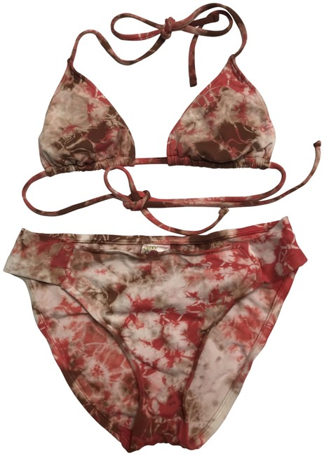 Item - Orange/Brown Tie Dye Bikini Set Size 4 (S)