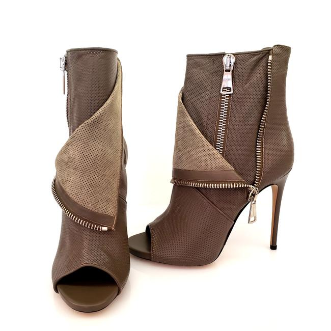 Item - Olive Green Perforated Open-toe Boots/Booties Size US 10 Narrow (Aa, N)