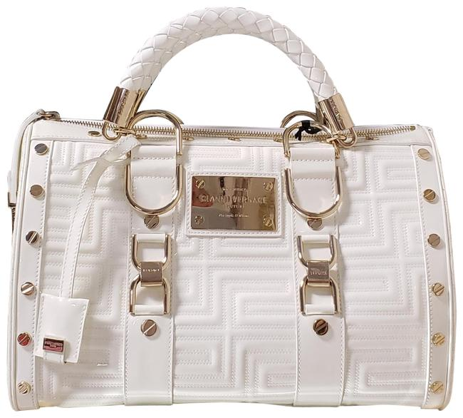"""Item - Gianni Couture Quilted """" Snap Out Of It"""" White Patent Leather Satchel"""