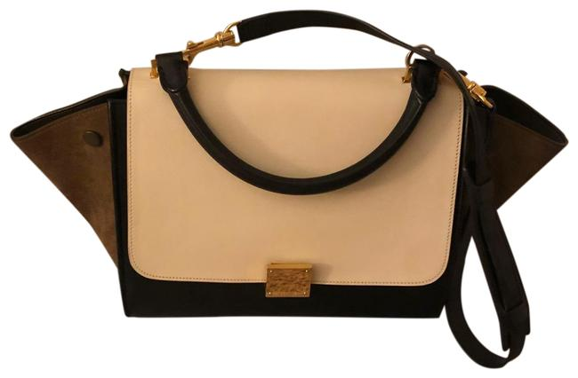 Item - Trapeze Smooth Calfskin Suede White Black and Olive Green Leather Satchel