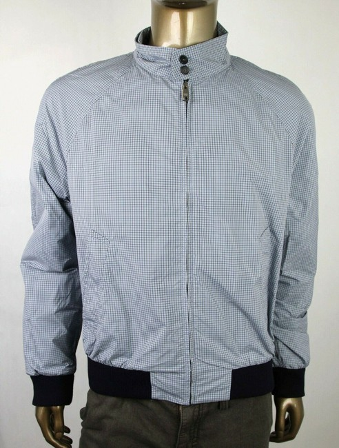 Item - Blue Small Checkered Nylon/Wool Zipper Jacket 54 Sgn671 Groomsman Gift