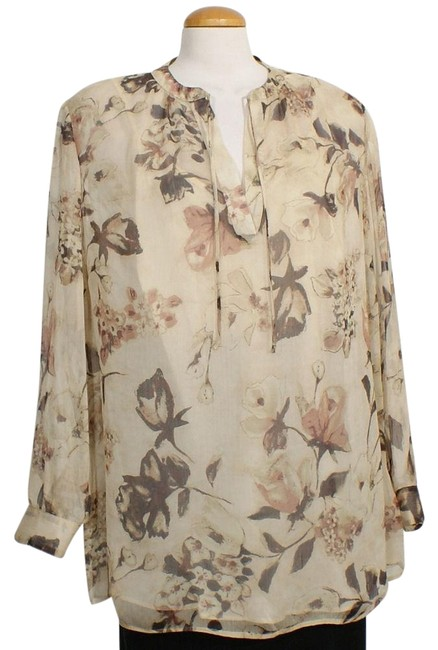 Item - Tan Multi XL Sheer Georgette Floral Split Neck Tunic Blouse Size 18 (XL, Plus 0x)