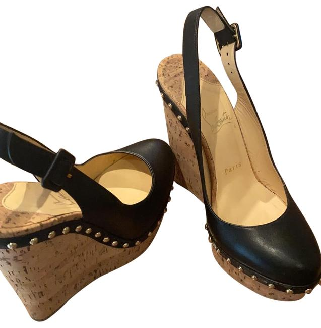 Item - Black/Gold Hot Lita 140 Calf/ Cork Zeppa Wedges Size EU 38.5 (Approx. US 8.5) Narrow (Aa, N)