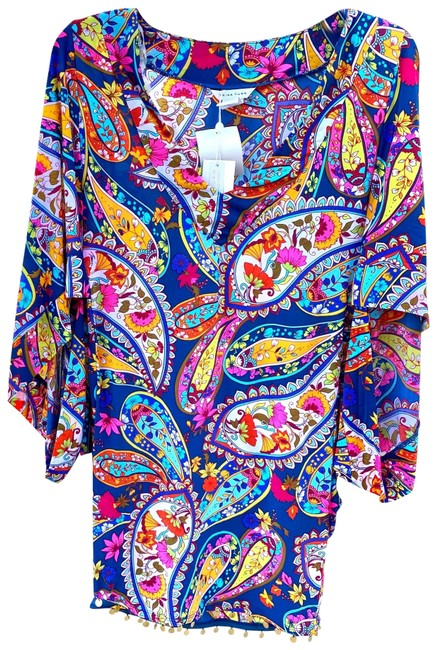 Item - Dark Teal Multi XS Spa Collection Moroccan Paisley Tunic Cover-up/Sarong Size 2 (XS)