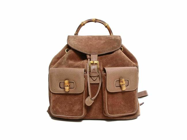 Item - Vintage Bamboo Mm Brown Suede Leather Backpack