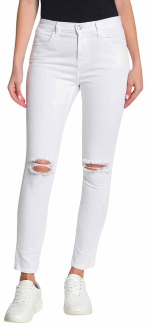 Item - White Distressed Current/Elliot The High Waist Stiletto Skinny Jeans Size 2 (XS, 26)