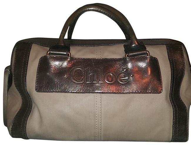 Item - Handbag Beige with Metallic Leather Canvas/Leather Satchel