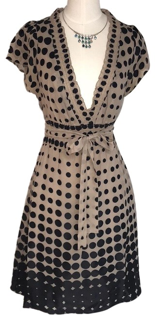 Item - Black/Cream Chic Summer Polka Dots Mid-length Cocktail Dress Size 6 (S)