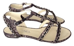 Chanel Flats Silver Chain BLACK/BEIGE Sandals