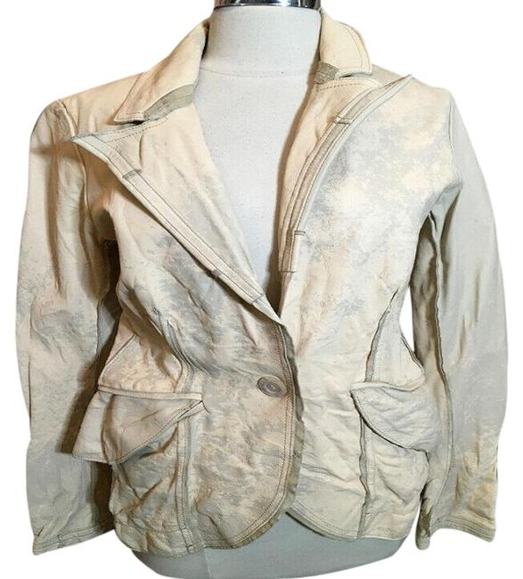 The People Of The Labyrinths Tan Distressed Blazer Jacket Size 4 (S) The People Of The Labyrinths Tan Distressed Blazer Jacket Size 4 (S) Image 1
