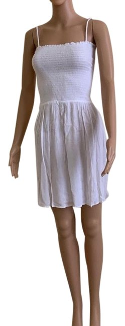 Item - White Smocked Spaghetti Strap Cover-up Short Casual Dress Size 16 (XL, Plus 0x)