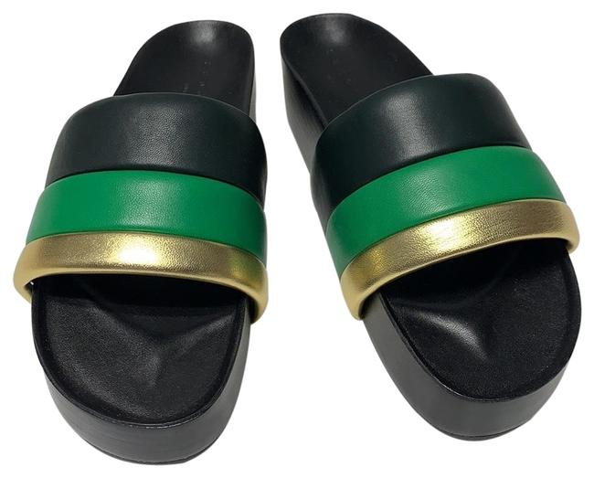 Item - Black Green and Gold Wedge (49) Sandals Size EU 37 (Approx. US 7) Regular (M, B)