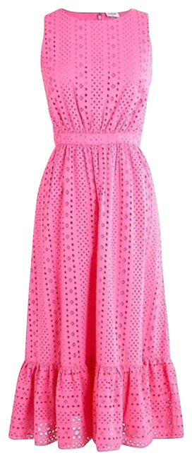 Item - Pink Eyelet-embroidered Tiered Long Casual Maxi Dress Size 6 (S)