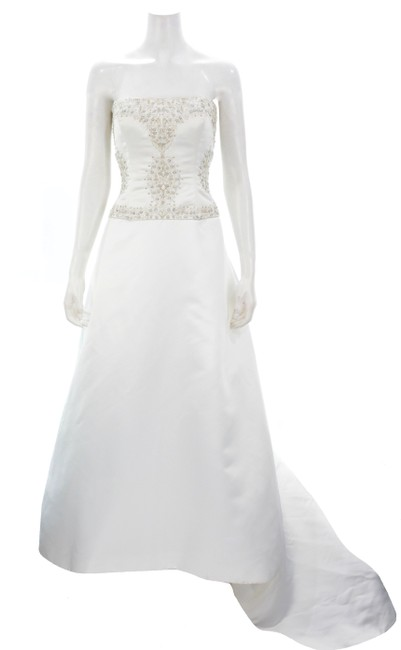 Item - White Strapless Sequin & Bead Encrusted Gown with Veil Feminine Wedding Dress Size 8 (M)