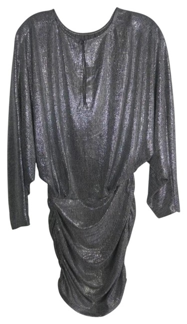 Item - Gray Silver Cocktail Mini Short Casual Dress Size 6 (S)