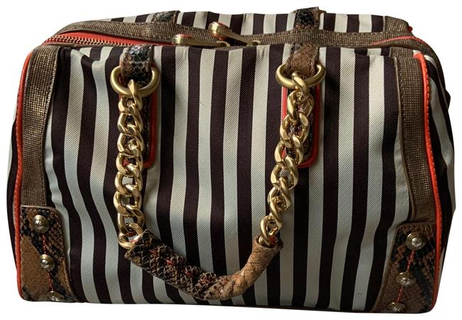 Item - Centennial Barrel White and Brown Stripes with Orange Detailing Satchel
