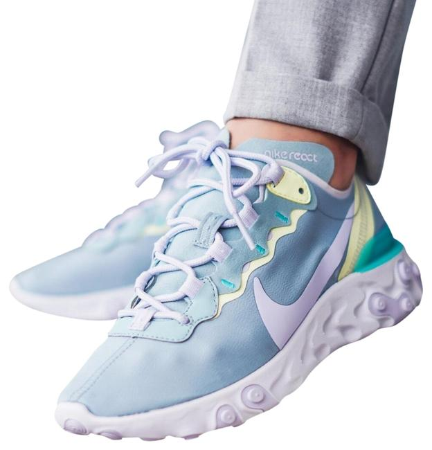 Item - White Women's React Element 55 Amethyst Details Lightweight Textile Upper Has A High Sheen For An Elevated Sneakers Size US 8 Narrow (Aa, N)