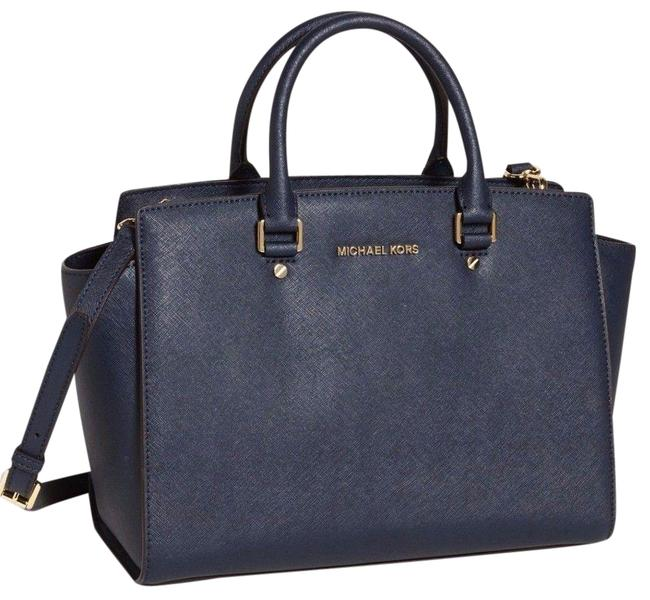 Item - Selma Large Top Zip (New with Tags) Navy Blue /Gold Hardware Saffiano Leather Satchel