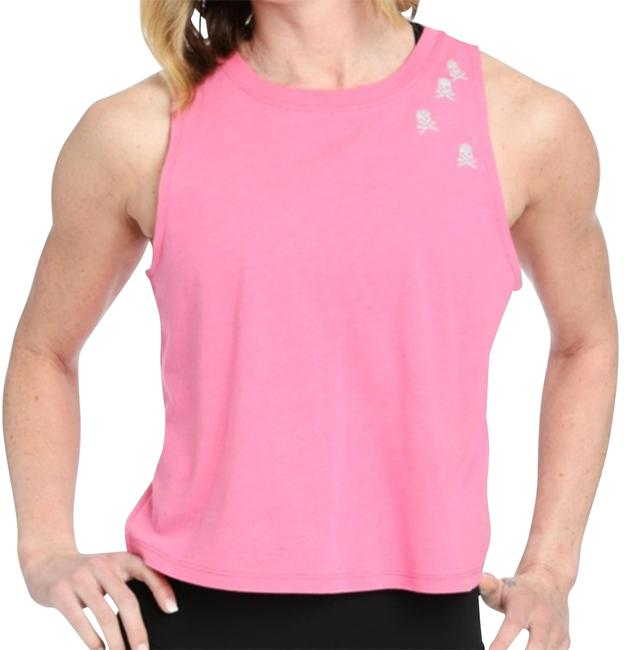 Item - Pink L Front Row Skull Embroidery Tank Activewear Top Size 12 (L)