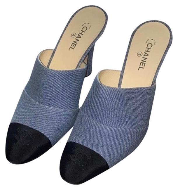 Item - Denim with Gossgrain Black Tow Mules/Slides Size EU 38 (Approx. US 8) Regular (M, B)