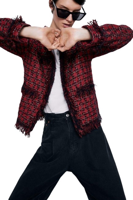 Item - Red W Textured Tweeted Weave Houndstooth Jacket Sweater W/ Pockets New. Blazer Size 6 (S)