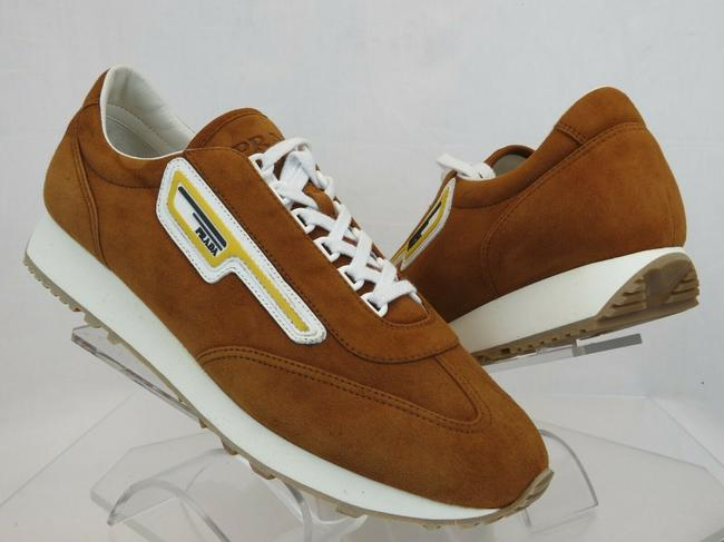 Item - Brown 2eg286 Camel Suede Logo Low Top Lace Up Sneakers 9 / Us 10 Italy Shoes