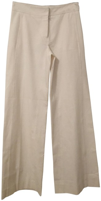 Item - Cream/White Trousers Cotton Stretches Cc Logos Pants Size 2 (XS, 26)