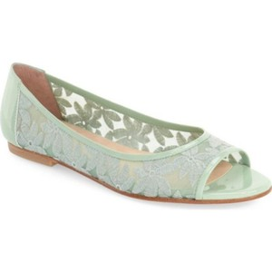 FS/NY Mesh Embroidered Floral Mint Peep Toe Green Blue Flats