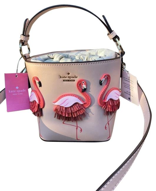 Item - Bucket Bag Flamingo Pippa By The Pool Warm Vellum Leather Baguette